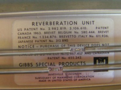 The label for one of the spring reverb units